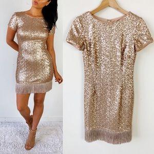 Aidan Mattox Gold Sequin Fringe Dress
